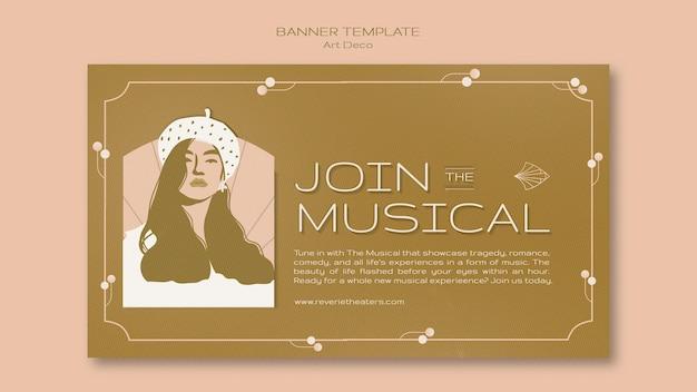 Vorlage für musikalische art-deco-banner
