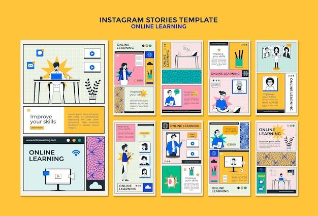 Vorlage für online-lern-instagram-geschichten