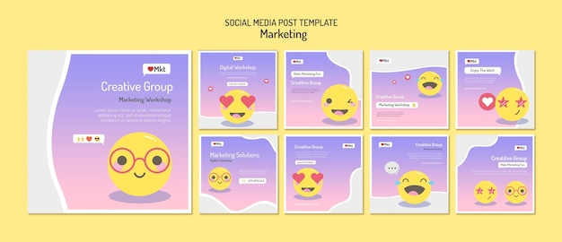 Vorlage für social-media-beiträge des marketing-workshops
