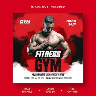 Vorlage für social-media-beiträge im fitnessstudio