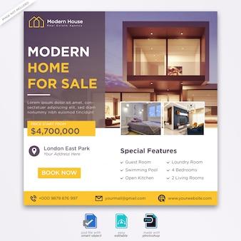 Vorlage für social media-beiträge im immobilien-design