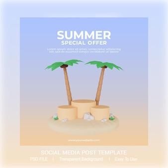 Vorlage für social-media-beiträge im sommerverkauf