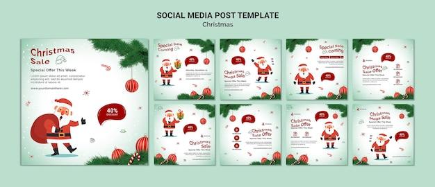 Vorlage für social-media-beiträge zum weihnachtsverkauf