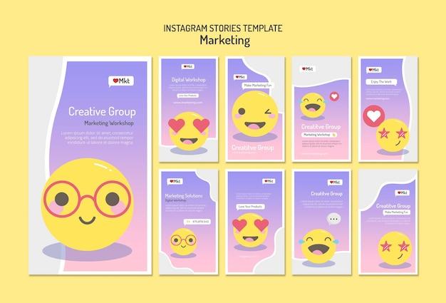Vorlage für social media-geschichten des marketing-workshops Premium PSD