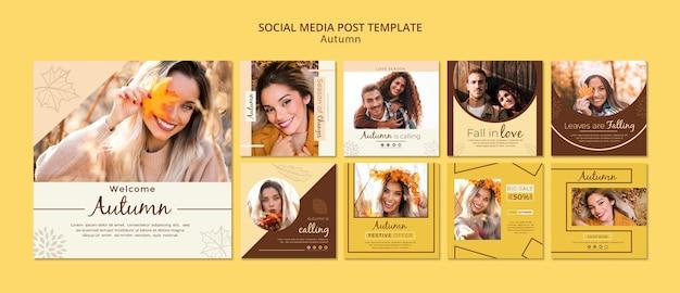 Vorlage für social media-geschichten für herbstfotos und mädchen