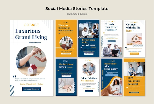 Vorlage für social media-geschichten für immobilien