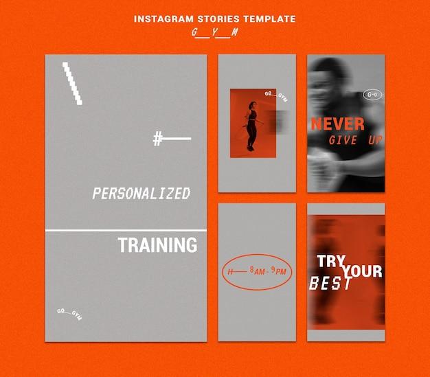 Vorlage für social-media-geschichten im fitnessstudio