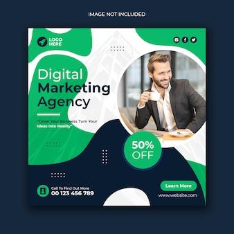 Vorlage für social-media-posts und web-banner einer agentur für digitales marketing