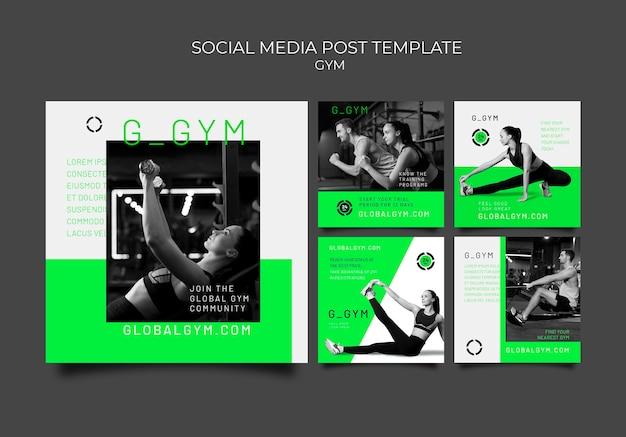 Vorlage für social-media-posts zum training im fitnessstudio