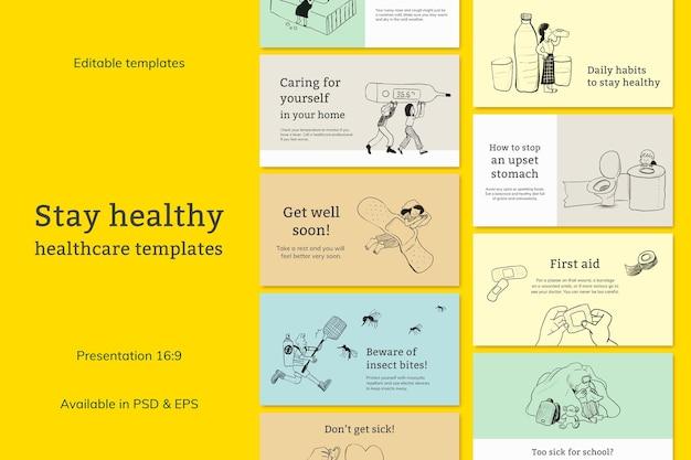 Vorlagendateien für häufige krankheiten stellen die präsentation des gesundheitswesens ein