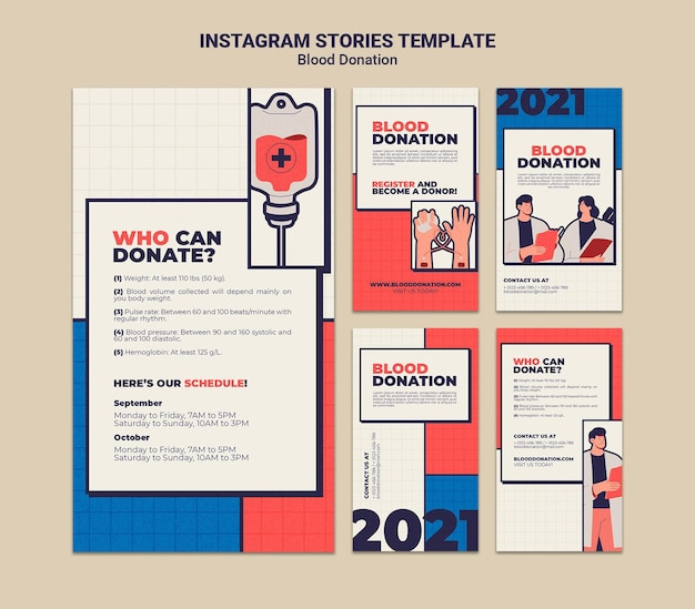 Vorlagendesign für die blutspende instagram-geschichte