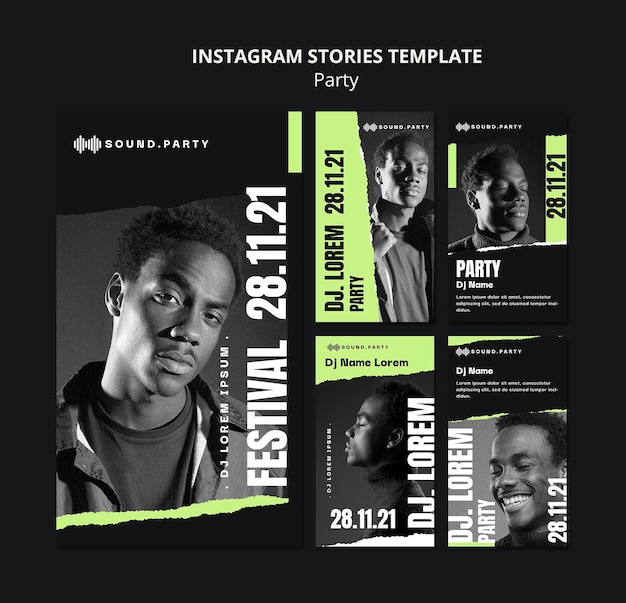 Vorlagendesign für die instagram-geschichte der party
