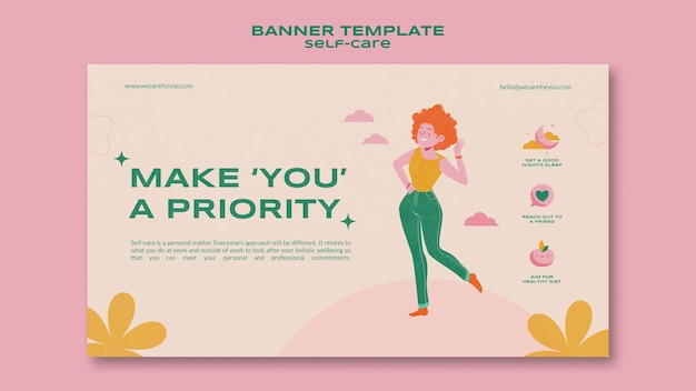 Vorrangige banner-vorlage für die selbstpflege