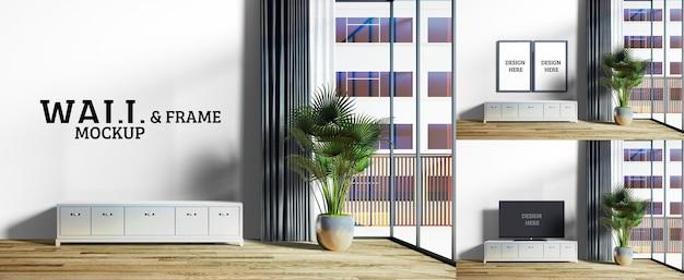 Wand- und rahmenmodell - das wohnzimmer hat einen großen glasschirm