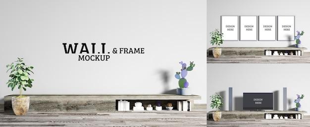 Wand- und rahmenmodell - das wohnzimmer verfügt über einen rauen hölzernen fernsehschrank