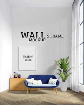 Wand- und rahmenmodell - das zimmer hat einen blauen stuhl