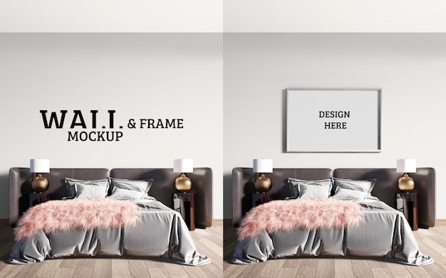 Wand- und rahmenmodell luxuriöse moderne schlafzimmer mit beeindruckenden großen betten