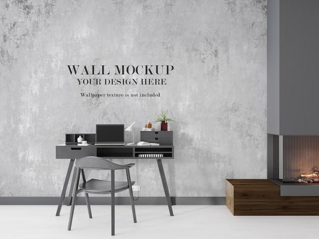 Wandbild des arbeitszimmers neben dem kamin