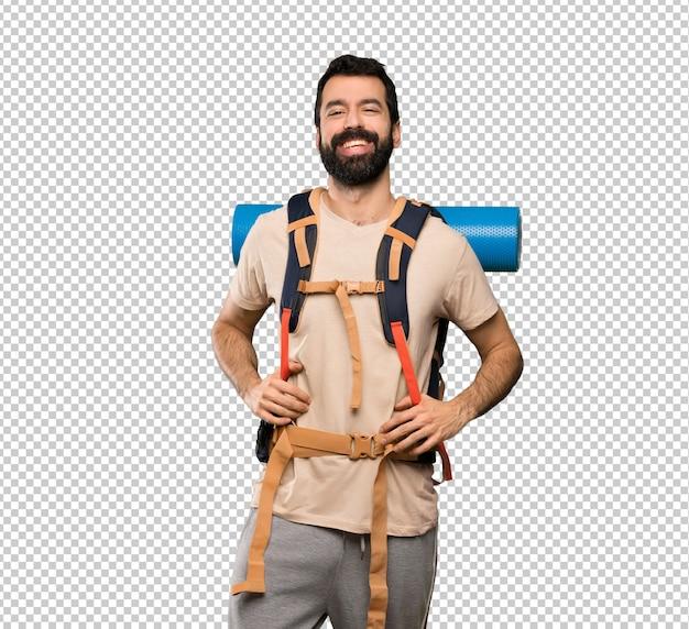Wanderer mann lächelnd