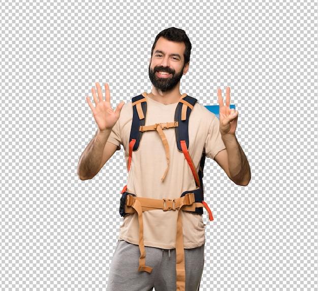 Wanderermann, der sieben mit den fingern zählt