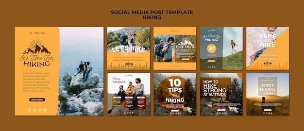 Wandern sie social media post vorlage