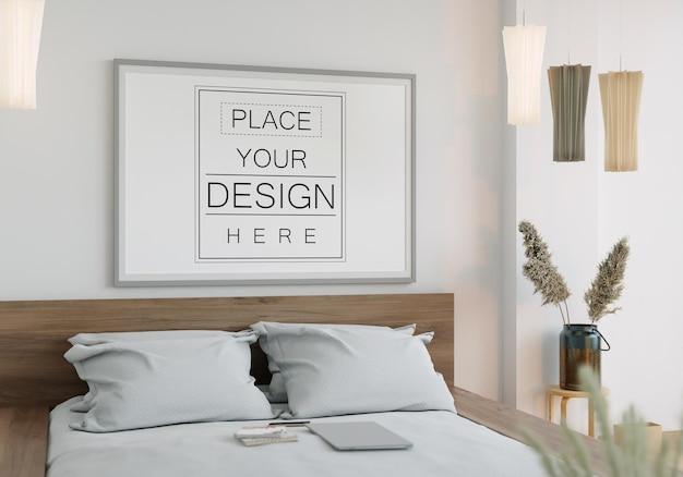 Wandkunst leinwand oder bilderrahmen mockup interieur in einem schlafzimmer
