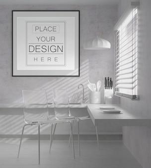 Wandkunst oder bilderrahmen im küchenmodell