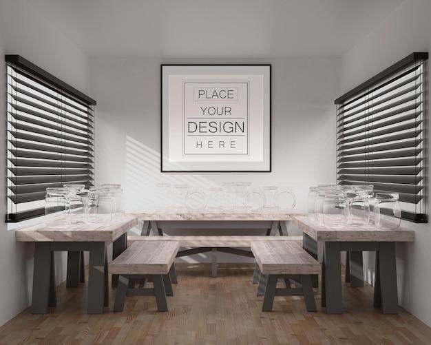 Wandkunst oder bilderrahmen im restaurantmodell