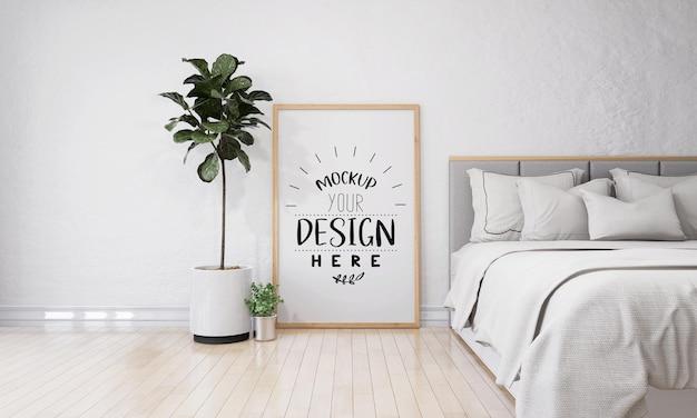 Wandkunst oder bilderrahmen im schlafzimmer mockup