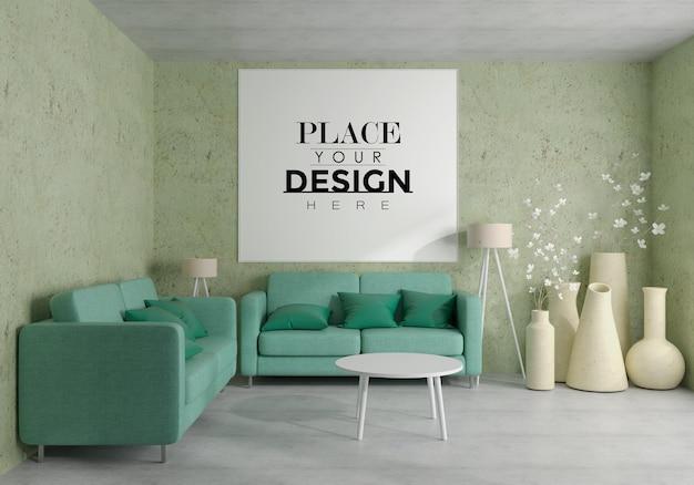 Wandkunst oder bilderrahmen im wohnzimmer mockup