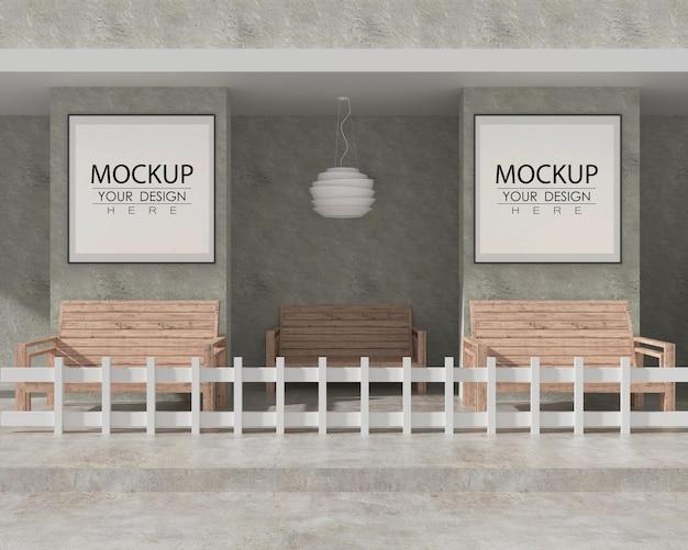 Wandkunst oder bilderrahmenmodell auf der terrasse mit bänken