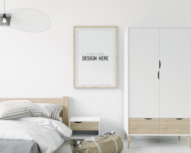 Wandkunst oder leinwandrahmen mockup interieur in einem schlafzimmer