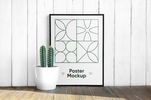 Wandkunstmodell auf dem boden mit kaktus