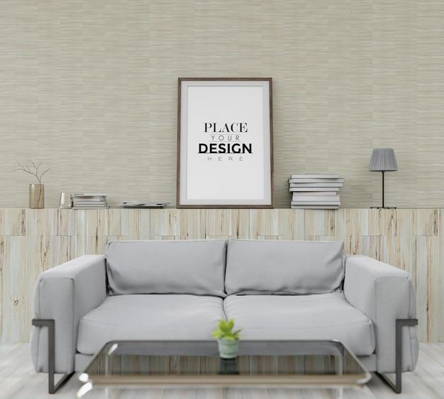 Wandkunstmodell, leinwandrahmen im wohnzimmer