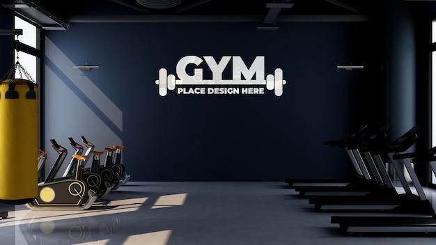 Wandlogo-mockup im fitnessstudio oder sportraum