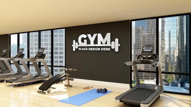 Wandlogo-modell im modernen fitness- und fitnessraum