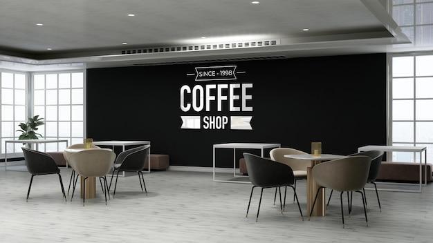 Wandlogomodell im café mit holztisch und stuhl