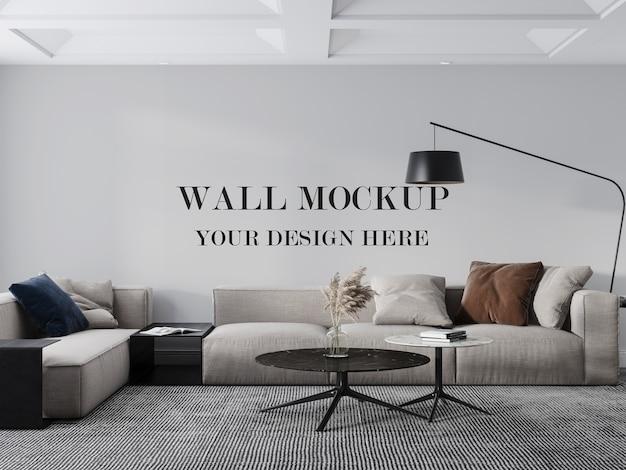 Wandmodell hinter dem modernen großen sofa