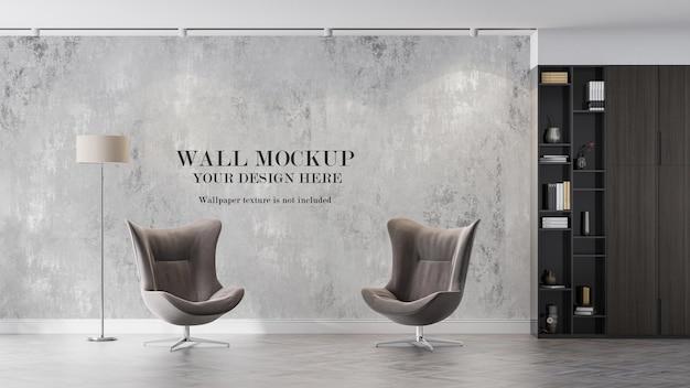 Wandmodell hinter zwei modernen sesseln