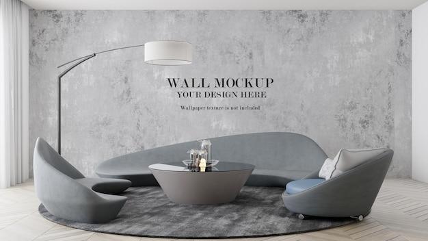 Wandmodell im innenraum mit futuristischen möbeln