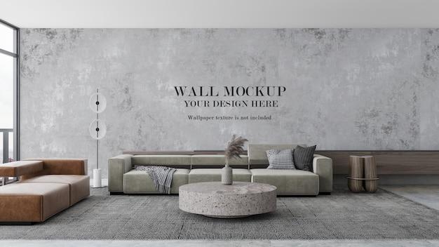 Wandmodell im innenraum mit modernen quadratischen sofas