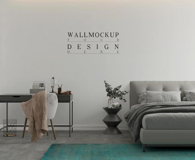 Wandmodell im modernen monochromatischen schlafzimmer 3d-rendering