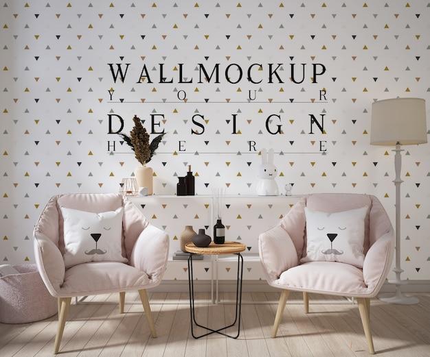 Wandmodell im modernen wohnzimmer mit sesseln