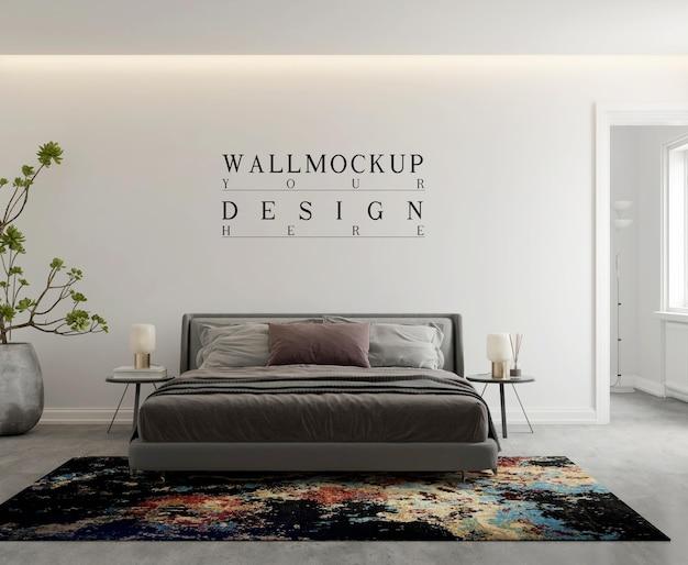 Wandmodell im modernen zeitgenössischen schlafzimmer