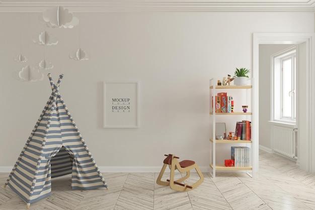 Wandmodell und plakatmodell im kinderspielzimmerinnenraum