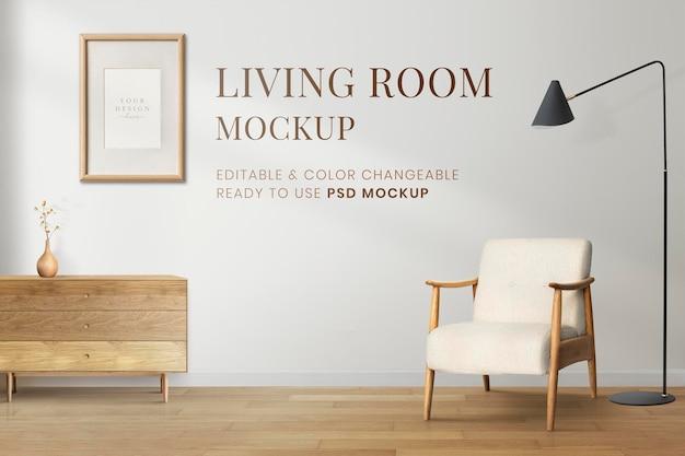 Wandmodell, wohnzimmer zu hause, minimaler innenraum psd