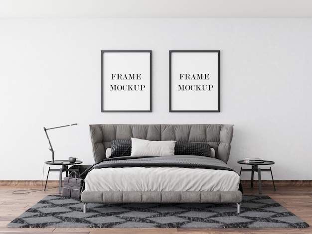 Wandrahmenmodell im modernen schlafzimmer