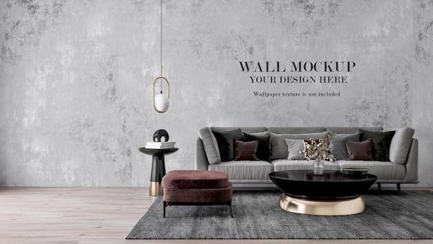 Wandschablone hinter modernem grauem sofa