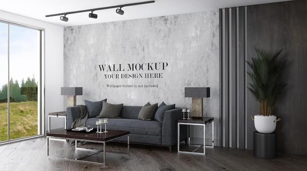 Wandschablone im modernen wohnzimmer