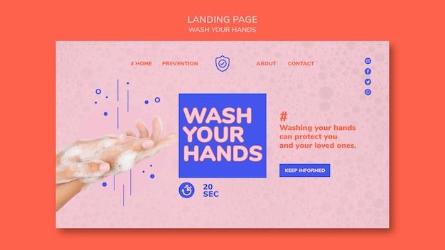 Waschen sie ihre hände landingpage